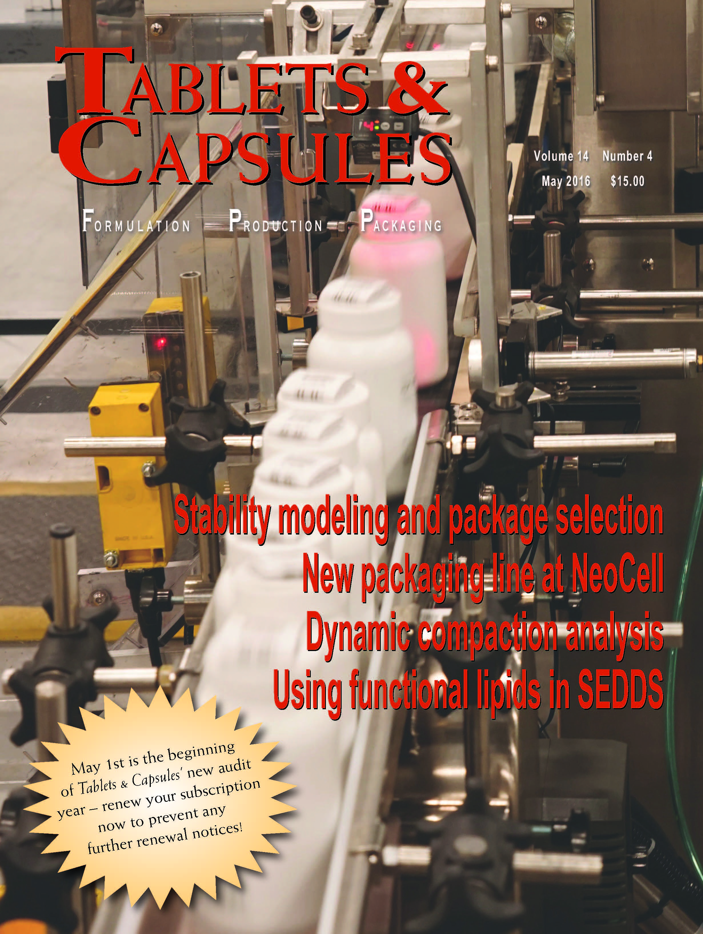 Tablets and Capsules May 2016 issue article for Drew John